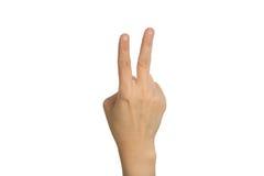 Hand met twee omhoog vingers royalty-vrije stock afbeelding