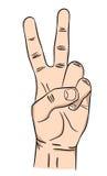 Hand met twee omhoog vingers Vrede, Victory Sign royalty-vrije stock afbeelding