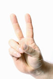 Hand met twee vingers omhoog de vrede of de overwinning sym Royalty-vrije Stock Foto's