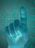 Hand met veilige gegevens door het aanrakingsscherm Stock Fotografie