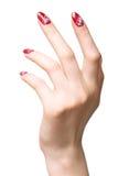 Hand met verfraaide spijkers Stock Foto's