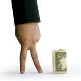 Hand met vijf dollars Royalty-vrije Stock Afbeeldingen