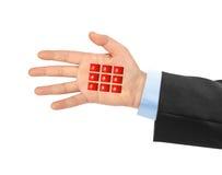 Hand met virtuele telefoonknopen royalty-vrije stock foto