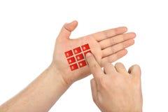 Hand met virtuele telefoonknopen royalty-vrije stock afbeeldingen