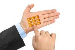 Hand met virtuele telefoonknopen royalty-vrije stock foto's