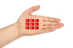 Hand met virtuele telefoonknopen royalty-vrije stock fotografie