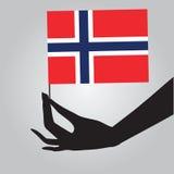 Hand met vlag Noorwegen royalty-vrije illustratie
