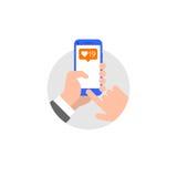 Hand met vlakke de stijlillustratie van de smartphonetoepassing stock illustratie