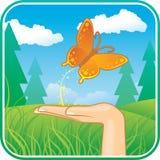 Hand met vlinder vector illustratie