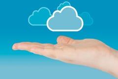 Hand met wolk Stock Afbeelding