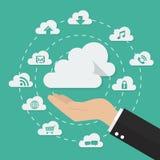 Hand met wolk het concept van de gegevensverwerkingstechnologie Royalty-vrije Stock Afbeeldingen