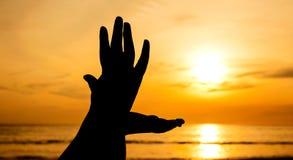 Hand met zonsondergang Stock Fotografie