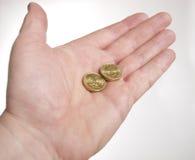Hand met Zweedse muntstukken Stock Fotografie