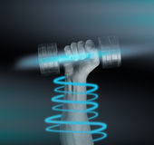 Hand with metal dumbbell, concept of power Stock Photo