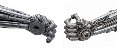 Hand of Metallic cyber or robot made from Mechanical ratchets bo Royalty Free Stock Images
