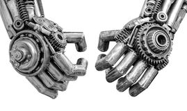 Hand of Metallic cyber or robot made from Mechanical ratchets bolts and nuts.  royalty free stock photography