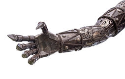 Hand of Metallic cyber or robot made from Mechanical ratchets. Bolts and nuts royalty free stock photo