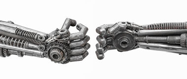Hand of Metallic cyber or robot made from Mechanical ratchets. Bolts and nuts royalty free stock images