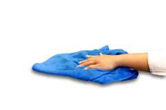 Hand with microfiber cloth Royalty Free Stock Photography