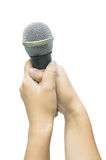 Hand with a microphone Royalty Free Stock Photos