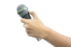 Hand with a microphone Royalty Free Stock Photography