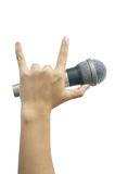 Hand with a microphone Stock Photo