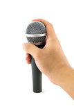 Hand with a microphone Royalty Free Stock Images