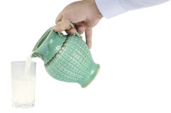 Hand with milk Jug Stock Photography