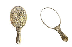 Hand Mirror. Front and back, isolated on white background Stock Images