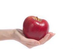 Hand mit Apfel Stockfotografie