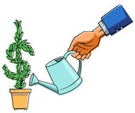 Hand mit Bewässerungsdose stock abbildung