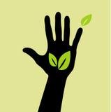 Hand mit Blattzeichen Stockfotografie