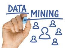 Hand mit blauem Leuchtmarker-Stiftschreiben Data - Mining Lizenzfreies Stockbild
