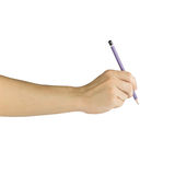 Hand mit Bleistiftschreiben etwas lokalisiert auf weißem Hintergrund Stockfotografie