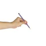 Hand mit Bleistiftschreiben etwas lokalisiert auf weißem Hintergrund Stockfoto
