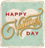Hand-mit Buchstaben gekennzeichnete Weinlese-Valentinsgrußkarte Lizenzfreie Stockbilder