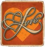 Hand-mit Buchstaben gekennzeichnete Weinlese-Valentinsgrußkarte Stockfotografie