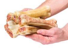 Hand mit dem Hundeknochen stockfotos