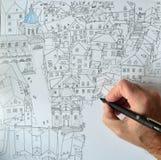 Hand mit dem Stift, der eine Zeichnung von Dubrovnik tut Stockbild