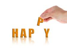 Hand mit dem Wort glücklich Stockfotos