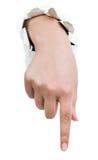 Hand mit dem Zeigefinger Stockfoto