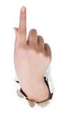 Hand mit dem Zeigefinger Stockbild