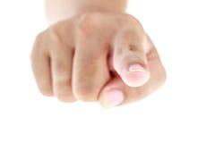 Hand mit dem Zeigefinger lokalisiert auf weißem Hintergrund Stockbilder