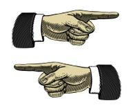 Hand mit dem Zeigen des Fingers in gravierter Art Lizenzfreie Stockfotografie