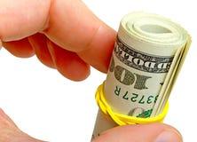 Hand mit den Dollar lokalisierten Konturen gespeichert. Stockbilder