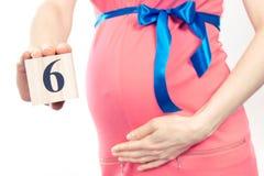 Hand mit der Anzahl des 6. Monats der Schwangerschaft, erwartend für neugeborenes Konzept Lizenzfreies Stockfoto
