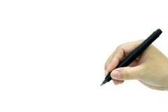Hand mit der Feder getrennt auf weißem Hintergrund Stockfotografie
