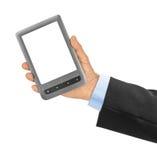 Hand mit EBook-Leser stockfotografie