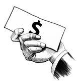Hand mit einem Geld lizenzfreie abbildung