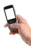 Hand mit einem Handy Stockfoto